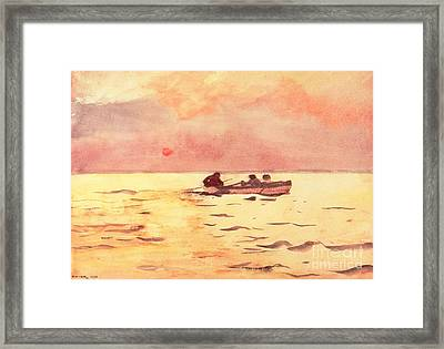 Rowing Home Framed Print by Winslow Homer