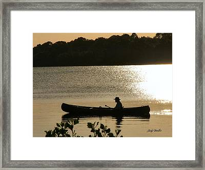 Rowing On The Lake Framed Print by Judy  Waller