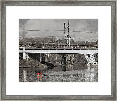 Rowing On The River Framed Print by Tom Gari Gallery-Three-Photography