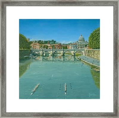 Rowing On The Tiber Rome Framed Print by Richard Harpum
