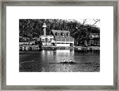 Rowing Past Turtle Rock Light House In Black And White Framed Print by Bill Cannon