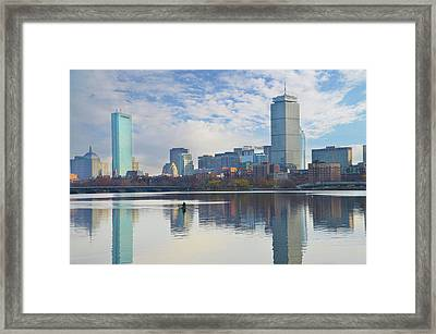 Rowing The Charles River - Boston Massachusetts Framed Print by Bill Cannon