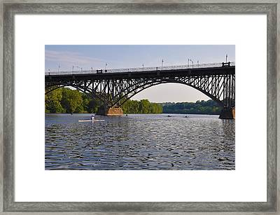 Rowing Under The Strawberry Mansion Bridge Framed Print by Bill Cannon