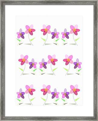 Rows Of Flowers Framed Print