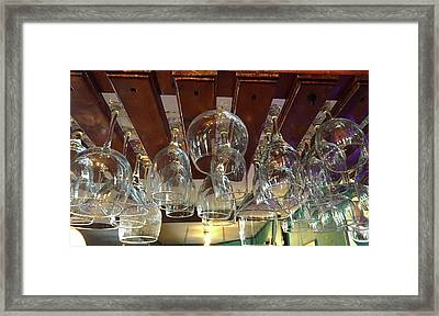 Rows Of Hanging Glasses Framed Print by Denise Mazzocco
