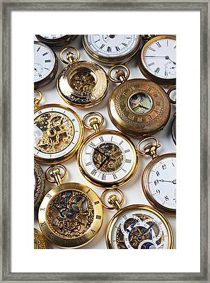 Rows Of Pocket Watches Framed Print