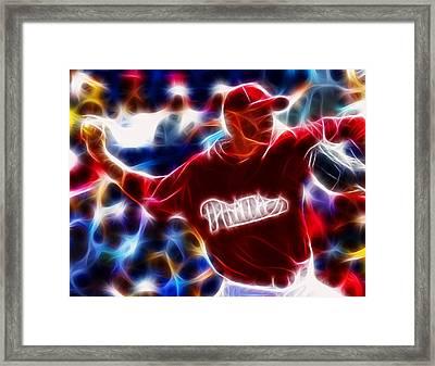 Roy Halladay Magic Baseball Framed Print by Paul Van Scott