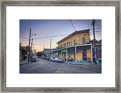 Royal And Touro Streets Sunset In The Marigny Framed Print by Ray Devlin