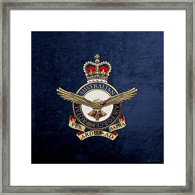 Royal Australian Air Force -  R A A F  Badge Over Blue Velvet Framed Print