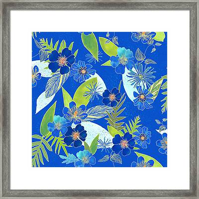 Royal Blue Aloha Tile 3 Framed Print