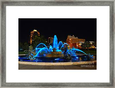 Royal Blue J. C. Nichols Fountain  Framed Print by Catherine Sherman
