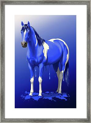 Royal Blue Wet Paint Horse Framed Print by Crista Forest