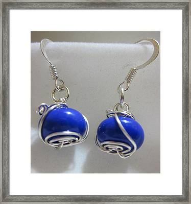 Royal Blue Wire Wrapped Earrings Framed Print by Janet  Telander