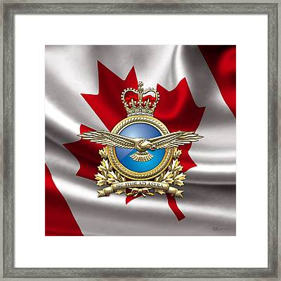 Royal Canadian Air Force Badge Over Waving Flag Framed Print