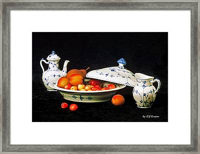 Framed Print featuring the photograph Royal Copenhagen And Fruits by Elf Evans