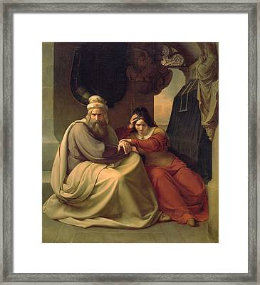 Royal Couple Mourning For Their Dead Daughter Framed Print by Carl Friedrich Lessing