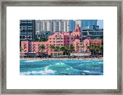 Royal Hawaiian Hotel Surfs Up Framed Print by Aloha Art