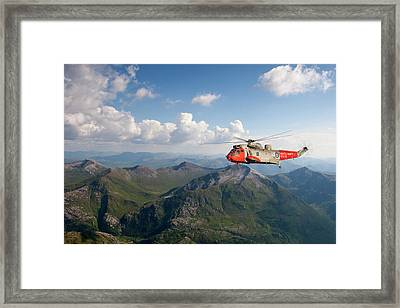 Framed Print featuring the digital art Royal Navy Sar Sea King by Pat Speirs