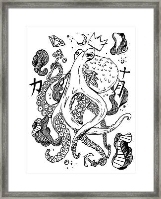Royal Octopus Black And White Framed Print by Kenal Louis