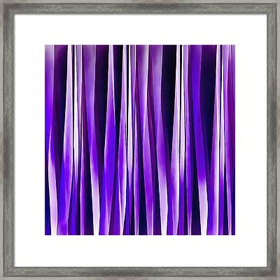 Royal Purple, Lilac And Silver Stripy Pattern Framed Print