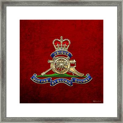Royal Regiment Of Canadian Artillery - Rca Badge On Red Leather Framed Print