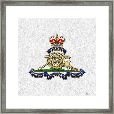 Royal Regiment Of Canadian Artillery - Rca Badge On White Leather Framed Print