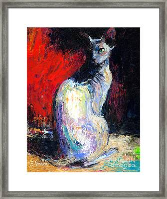 Royal Sphynx Cat Painting Framed Print