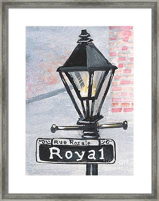 Royal Street Lampost Framed Print by Elaine Hodges