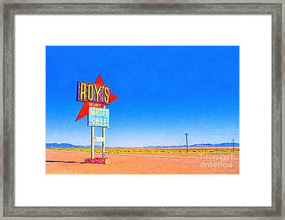 Roys Motel And Cafe Framed Print by Wingsdomain Art and Photography