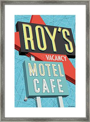 Roy's Motel Cafe Pop Art Framed Print by Jim Zahniser