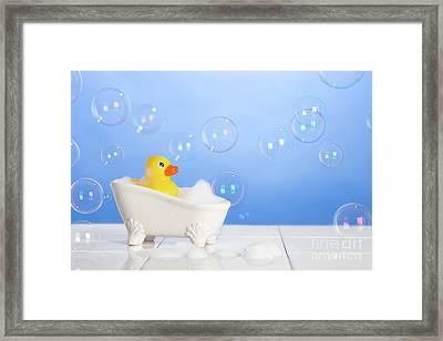 Rubber Duck In Bath Framed Print