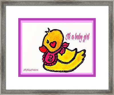 Rubber Ducky Baby Card Framed Print by MaryLee Parker