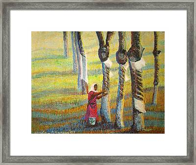 Rubber Tapping At Dawn Framed Print by Art Nomad Sandra  Hansen