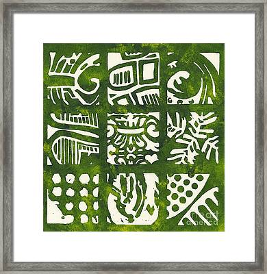 Rubbing Patterns Linocut Framed Print
