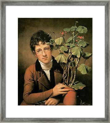Rubens Peale With A Geranium Framed Print by Rembrandt Peale