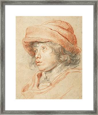 Rubens's Son Nicolaas Wearing A Red Felt Cap Framed Print