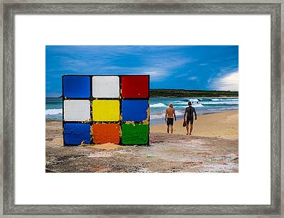 Rubiks Cube No Mystery For Surfer Boys Framed Print by Paul Donohoe