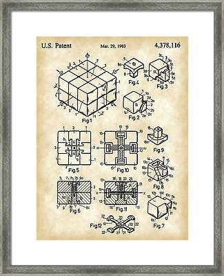 Rubik's Cube Patent 1983 - Vintage Framed Print by Stephen Younts