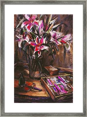 Rubirosa Lilies Framed Print by Joan  Jones