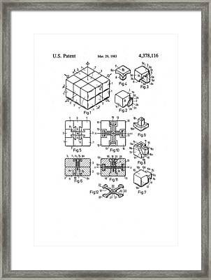 Rubix Cube Patent Drawing 1983 Bw Framed Print by Patently Artful