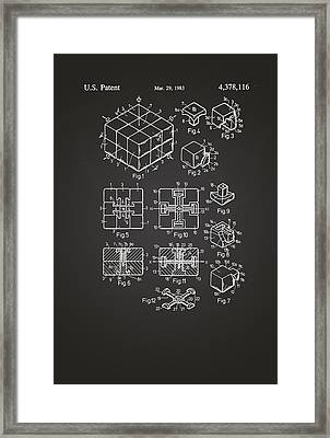 Rubix Cube Patent Drawing 1983 Chalkboard Framed Print by Patently Artful