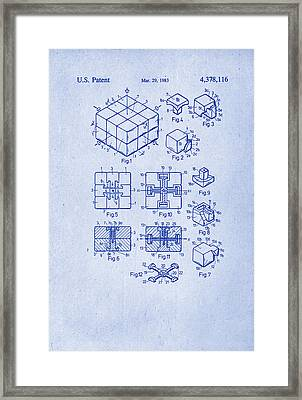 Rubix Cube Patent Drawing 1983 Framed Print by Patently Artful