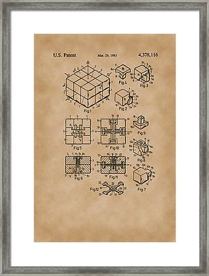 Rubix Cube Patent Drawing 1983 Vintage Framed Print by Patently Artful