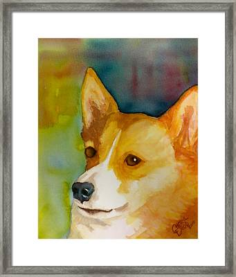 Ruby The Corgi Framed Print by Cheryl Dodd