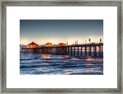 Framed Print featuring the photograph Ruby's Surf City Diner At Twilight - Huntington Beach Pier by Jim Carrell