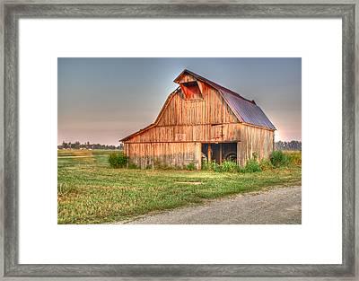 Ruddish Barn At Dawn Framed Print by Douglas Barnett
