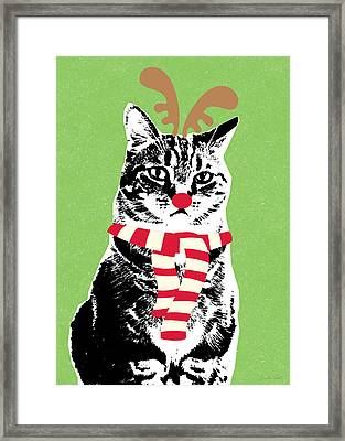 Rudolph The Red Nosed Cat- Art By Linda Woods Framed Print by Linda Woods