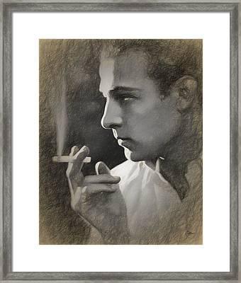 Rudolph Valentino Draw Framed Print by Joaquin Abella