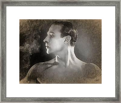 Rudolph Valentino Sketch Framed Print by Joaquin Abella