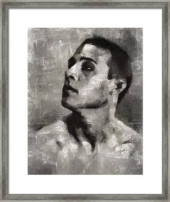 Rudolph Valentino, Vintage Actor Framed Print by Mary Bassett